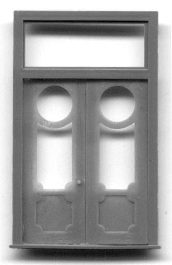 With Frame /& Transom Grandt Line HO #5312 Double Door 2 Plastic Doors